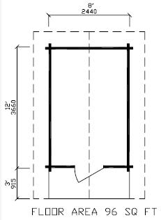 96 square feet / 8.92 m²